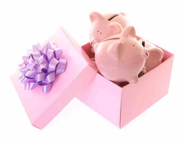 Piggy banks in gift box