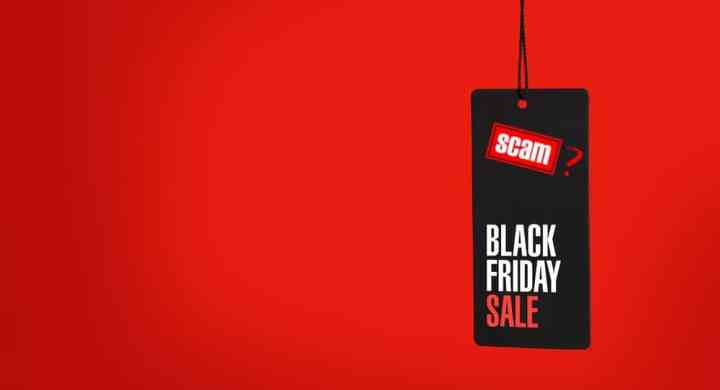Black Friday sale tag with Scam stamp and question mark