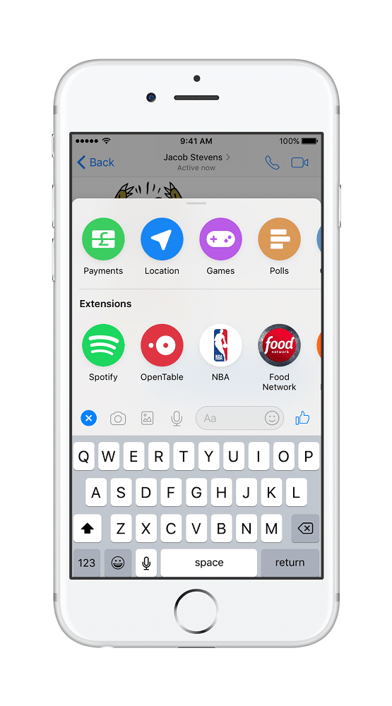 Facebook messenger screenshot