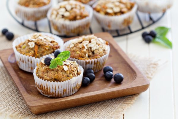 Vegan banana and blueberry muffins