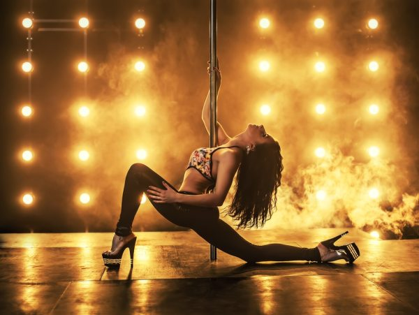 Professional pole dancer at event
