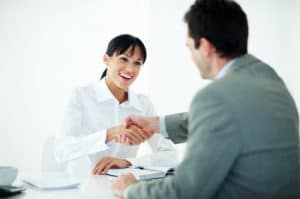 Online recruiter with candidate.