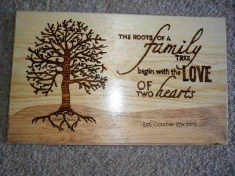 Burned Wood Family Sign