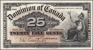 Image result for Dominion of Canada 25c Shinplaster chantou