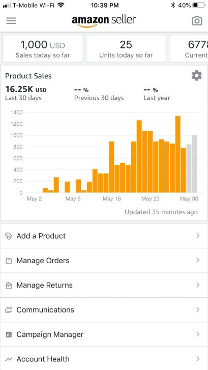 Amazon seller app screenshot showing sales of $1000 per day with orange up and down graph.