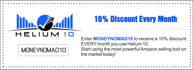 Use MONEYNOMAD10 for a 10% Helium 10 discount every month