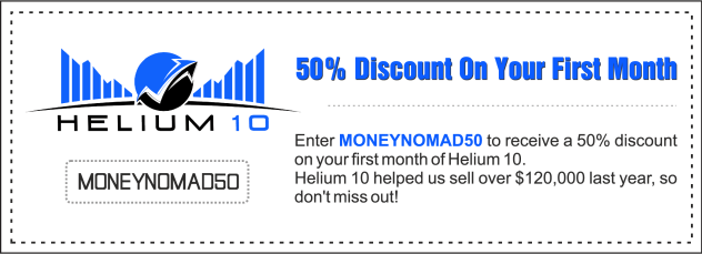 Use MONEYNOMAD50 for a 50% Helium 10 discount