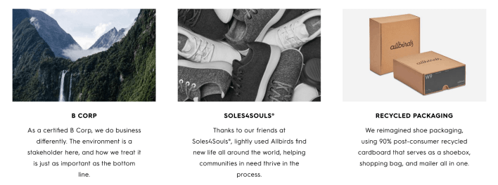 Image showing that Allbirds is a b-corp, works with Soles4Souls and used recycled packaging