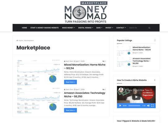 Money Nomad Marketplace Example