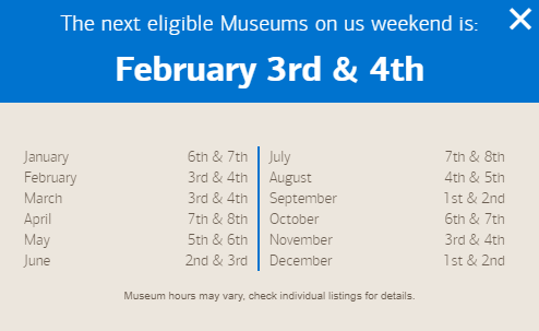 2018 Bank of America Museums On Us Calendar