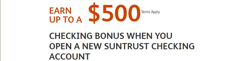 Suntrust Bank Personal Checking $500 Bonus