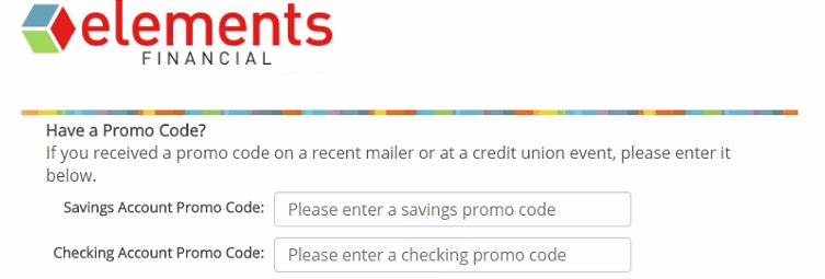 Elements Financial Promo Code Screen