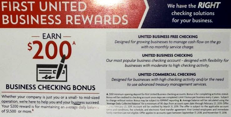 First United Bank Business Checking Bonus