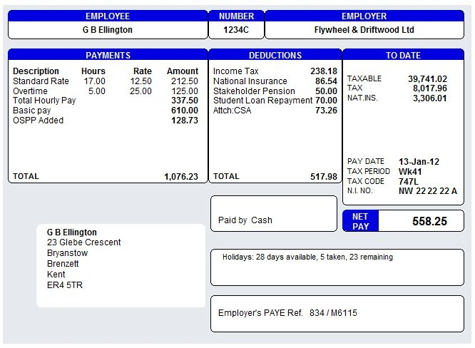 Download Payslip Template Free payslip formats salary payslip – Simple Salary Slip Sample