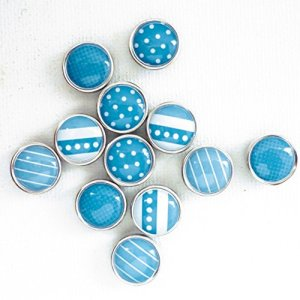 12 mini magnets époxy - Ø12mm - Bleu - Graines créatives