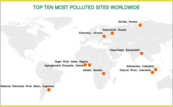 Sungai Citarum dan Kalimantan, kini masuk dalam 10 besar lokasi paling terpolusi di Bumi. Peta: Blacksmith Institute