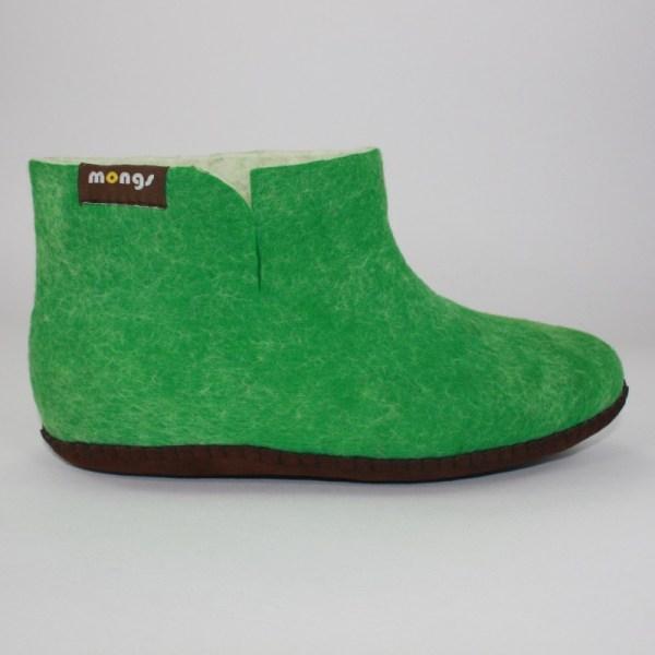 Warme hohe Hausschuhe aus Filz mit Ledersohle für Damen, Herren und Kinder in der Farbe Grün - Uni Mongs Grün