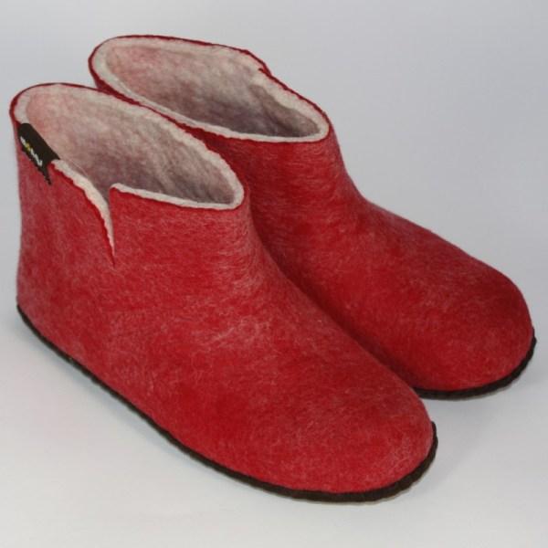Warme hohe Hausschuhe aus Filz mit Ledersohle für Damen, Herren und Kinder in der Farbe Rot - Uni Mongs Rot