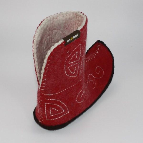 Warme Hausschuhe aus Filz mit Ledersohle für Damen und Herren in der Farbe Rot und in der typisch mongolischen Form - Ultra Mongs Rot