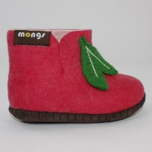 Warme Hausschuhe aus Filz mit Ledersohle für Babies und Kinder in der Farbe Pink - Baby Mongs Pink mit Blatt