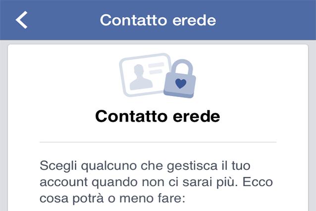 facebook contatto erede