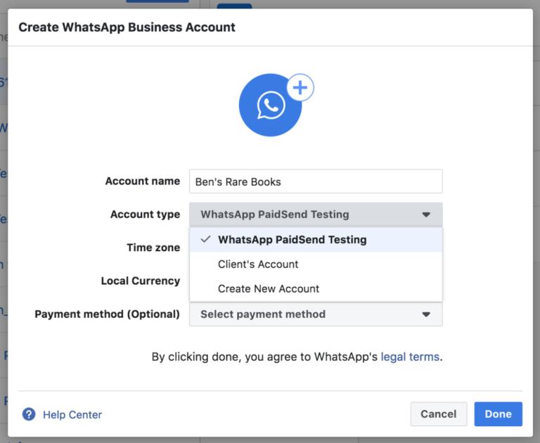 aggiungi account whatsapp al business manager di facebook