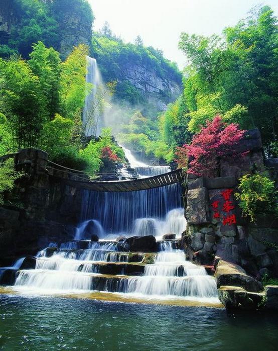 Footbridge Waterfall, Zhangjiajie, Hunan, China