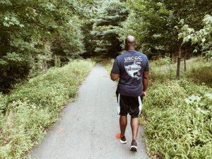 Husband walking on a trail