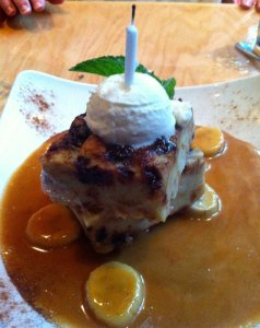 My Aunt and I had a decadent, 4 hour lunch, topped off with a surprise Banana Pudding from our waiter!