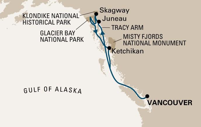 cruzeiro ALASKA mapa