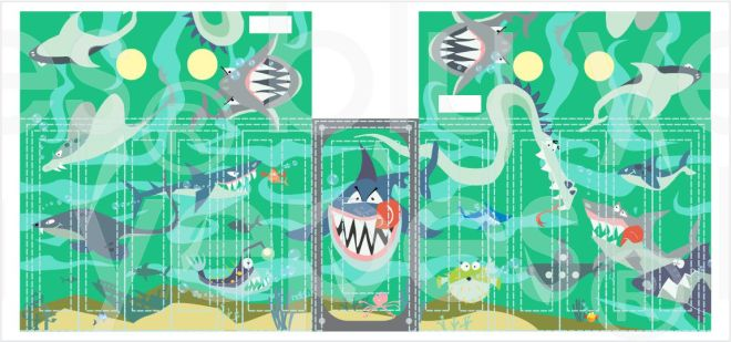 Kids Murals-Boy Walking Closet - Ocean - Aquarium Mural - Monica Yepes - Muralist NYC - Miami, FL