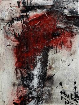 Aufregend - Baumaterial, Marmormehl, Tusche, ZEN-Strich, Öl und Pigmente auf Leinwand - 30 x 40 cm