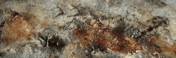 Birke - Marmormehl, Knochenleim, und Tuschen auf Leinwand - 150 x 50 cm (zur Zeit in Ausstellung bei Form im Raum in Mayen)