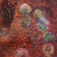 Das kleine Rot II - Acryl und Pigmente auf Buchbinderpappe - 30 x 30 cm