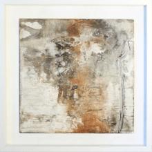 Frau im Nebel - Sumpfkalk, Marmormehl und Pigmente auf Holz, gerahmt - 40 x 40 cm