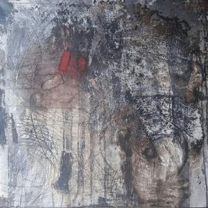Kiss me - Sumpfkalk,Tuschen, Pastellkreiden und Schüttungen auf Leinwand - 80 x 80 cm