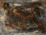Lavafeld - Baumaterial, Beizen, Pigmente und Wachs auf Leinwand - 60 x 80 cm