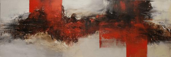 Lavastrom - Acryl, Beizen und Pigmente auf Leinwand - 120 x 40 cm