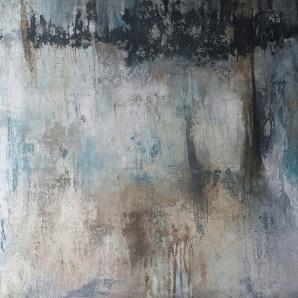 Mauerwerk - Sumpfkalk, Tuschen, Schüttungen auf Leinwand - 80 x 80 cm