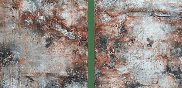 Morbide - Sumpfkalk, Sande, Schellack, Pigmente, Schiefermehl, Gold und Wachs auf Holz - 30 x 30 cm