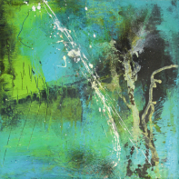 Petit Bleu II - Acryl und Pigmente auf Buchbinderpappe - 30 x 30 cm