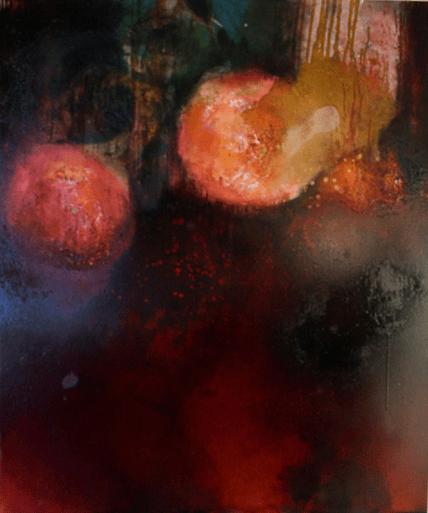 Rote Kraft - Marmormehl, Öle und Pigmente auf Leinwand - 120 x 100 cm