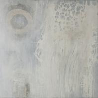 Schwarz-Weiß-Malerei II - Acryl, Collage und Wachs auf Leinwand - 80 x 80 cm