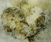 Terre des Hommes - Acryl, Beizen und Draht auf Leinwand- 60 x 50 cm