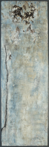 Transparenz Bleu I - Sumpfkalk, Marmormehl und Pigmente auf Holz, gerahmt - 120 x 40 cm