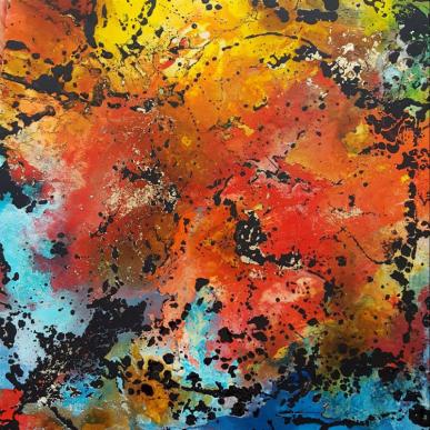 Völlig losgelöst - Acrylfarben und Adhäsion auf Leinwand - 80 x 80