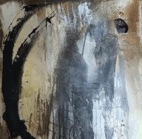 Begegnung im Nebel – Tuschen, Beizen, Pigmente, auf Leinwand
