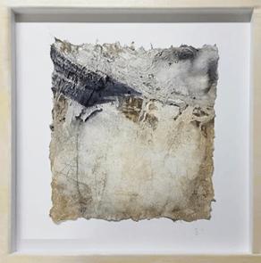 Stille Kraft I - Seidelbastpapier, Baumaterial, Sumpfkalk, Pigmente, Tuschen – 40 x 40 cm – Kunstfabrik Hannover 2017