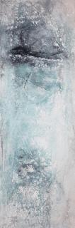DAS NEUE IM LEBEN - 2018, Sumpfkalk, Marmormehl, Pigmente auf Leinwand, 150 x 50 cm
