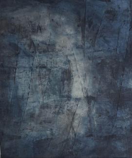 SICHTBARWERDUNG DES UNSICHTBAREN - 2018, Sumpfkalk, Haftputzgips, Pigmente, Tuschen auf Leinwand, 120 x 100 cm